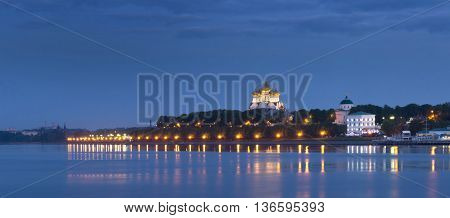 Evening view on the Volga embankment in Yaroslavl. Russia poster