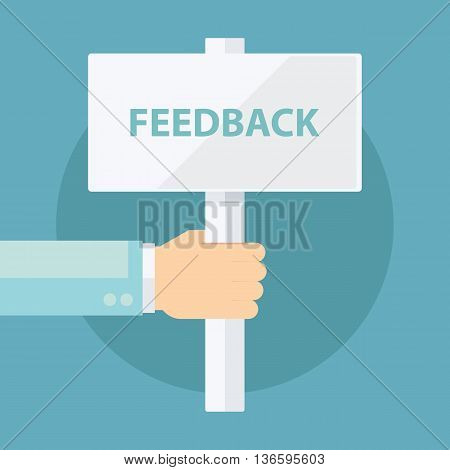 Male hand holding Feedback signboard. Flat design vector illustration.