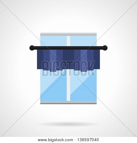 Classic window with blue short curtain or pelmet on cornice. Drapes, shades, lambrequins and other element of textile decoration. Flat color style vector icon.