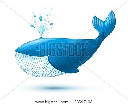 Hand drawn cartoon style blue vector whale isolated on white background