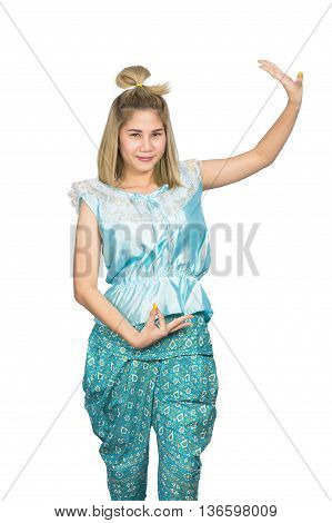 Women wore blue Thailand So happy on white background
