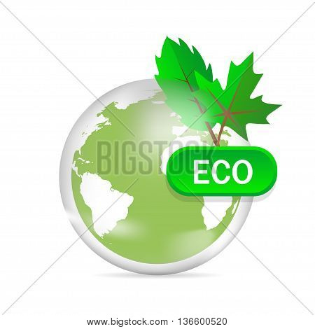 Eco Friendly Green Earth Design Isolated On White Background