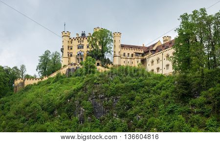 View on famous Hohenschwangau Castle in Bavaria, Germany