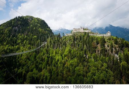 Panoramic view of Highline 179 bridge and Ehrenberg Castle. Reutte Tyrol Austria