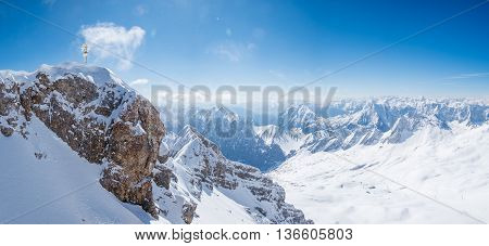 Top of Germany Panoramic view of Alps mountain range at Zugspitze