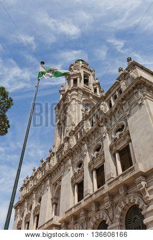 PORTO PORTUGAL - MAY 26 2016: Municipality building (City Hall early 20th c.) at Aliados Avenue in the center of Porto Portugal (UNESCO site). Architects Antonio Correia da Silva and Carlos Ramos