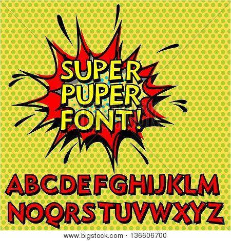Cool Pop Art Font, Alphabet. Comic Book Style.