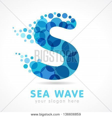 Sea wave S logo. Logo of tourism, resort or hotel by the sea in letter S splash bubbles. Spa vector symbol
