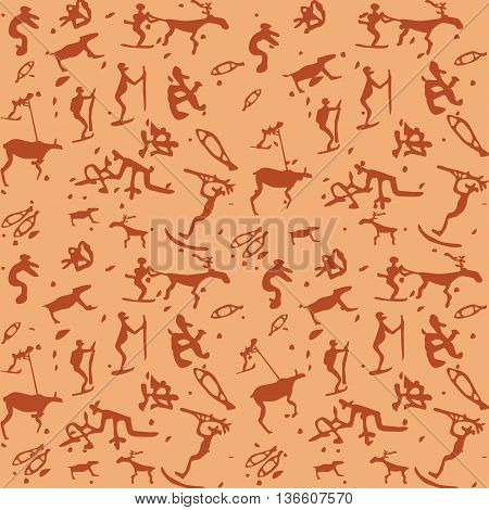 Primitive art vector seamless pattern of stylized petroglyphs. Stone painting design of cave men activity