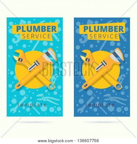 Set of vector plumber service concept business card design. Plumbing repair tools background in flat style