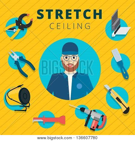 Stretch ceiling vector tools and worker illustration concept design. Stretched cap in flat style with instruments background