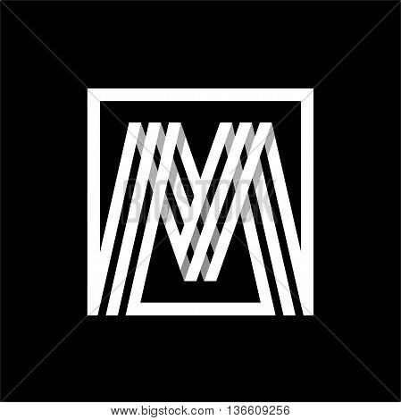 M capital letter made of of three white stripes enclosed in a square. . Overlapping with shadows monogram, logo, emblem. Trendy design.