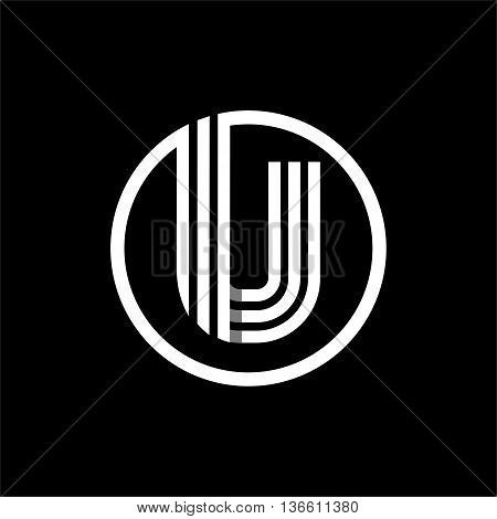 U capital letter made of of three white stripes enclosed in a circle . Overlapping with shadows monogram, logo, emblem. Trendy design.