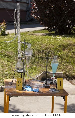 Illegal drug or methamphetamine home laboratory. Clandestine chemistry.
