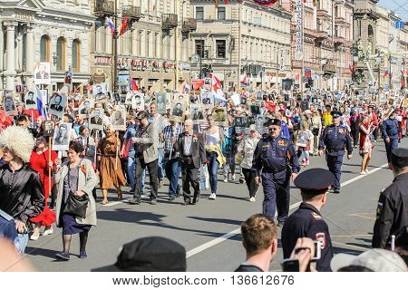 St. Petersburg, Russia - 9 May, People in the column immortal regiment, 9 May, 2016. Holiday-action