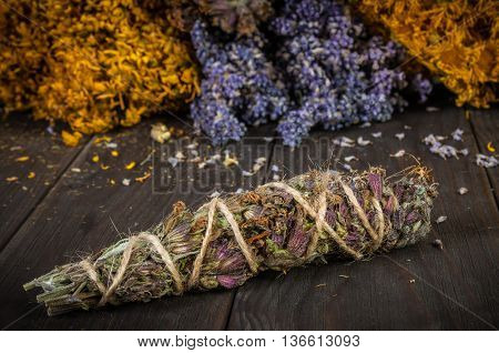 A Bunch Of Dried Herb That Usually Is Used In Different Ritual, Magic And Cleaning, lavender, nard marsh, lavender, Hypericum grass, lemongrass, sage