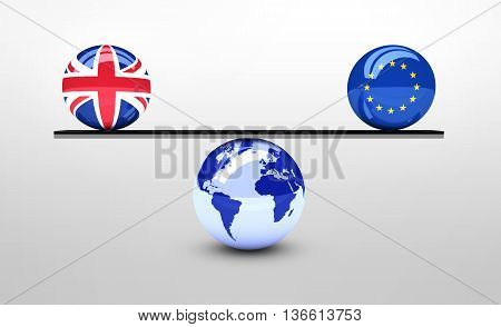 Brexit British referendum concept with UK and EU flag balls balancing on world map ball 3D illustration.