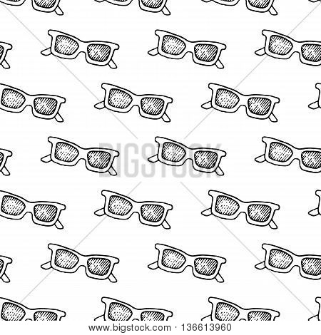 Doodle sunglasses pattern with hand drawn vintage sunglasses. Cute vector black and white sunglasses pattern. Seamless monochrome sunglasses pattern for fabric, wallpapers, wrapping paper and cards.