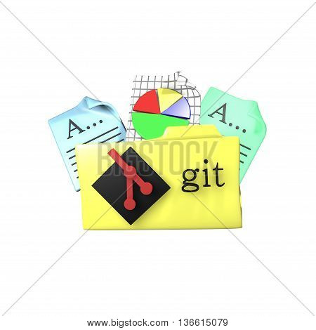 Folder icon with Git version control tool. 3d rendering