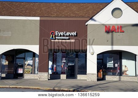 NAPERVILLE, ILLINOIS / UNITED STATES - NOVEMBER 3, 2015: The Eye Level Learning Center offers tutoring services in a Naperville strip mall.