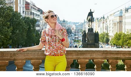 Woman Standing Near National Museum In Prague And Looking Up