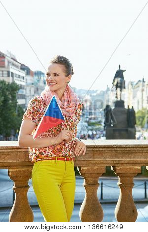 Happy Woman With Czech Flag Standing At Wenceslas Square, Prague