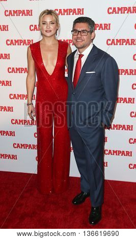 NEW YORK-NOV 18: Actress Kate Hudson (L) and Gruppo Campari CEO Bob Kunze-Concewitz attend the 2016 Campari Calendar Launch Event at The Standard Hotel on November 18, 2015 in New York City.