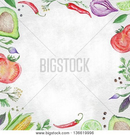 Watercolor menu template paper background with hand-painted healthy food ingredients