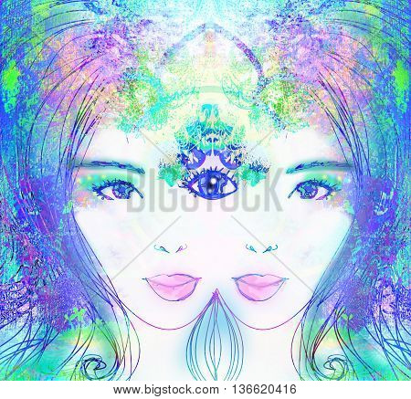 Woman portrait with third eye psychic supernatural senses , raster