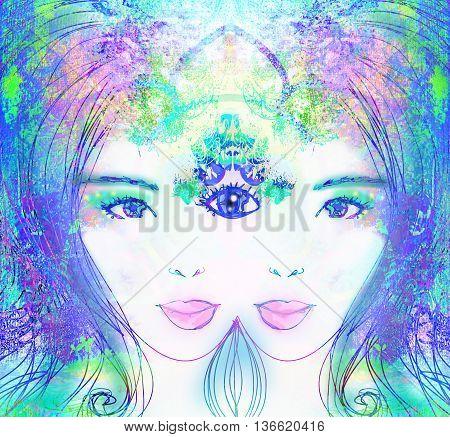 Woman portrait with third eye psychic supernatural senses , raster poster