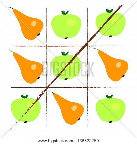 Tick-tack-toe with apples and pears. Vector illustration