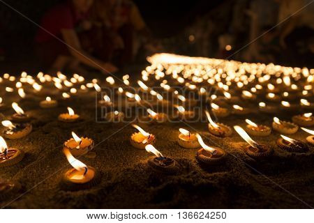 People Light Candle To Pay Respect To Buddha Relic