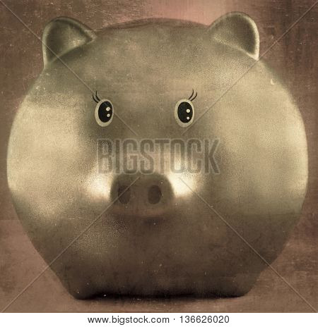 golden pig with red background