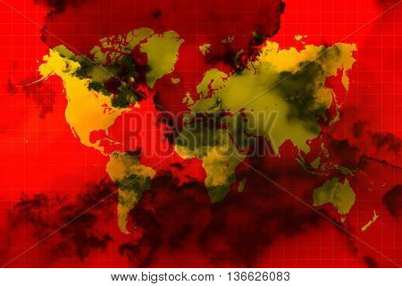 Yellow world map on red background and black smoke all over the world representing the world in chaos