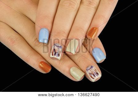 Beautiful manicure nails. Boho style. Beautiful female hands with nails painted nails. Art manicure. Creative manicure. Taking Close-up nails. Art nails. Nails art. Art manicured fingers.