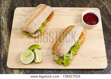 Fish finger sandwiches A traditional British snack of fish finger sandwiches