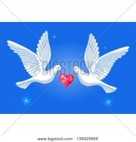 Soaring doves pair with passionate heart vector illustration isolated on background