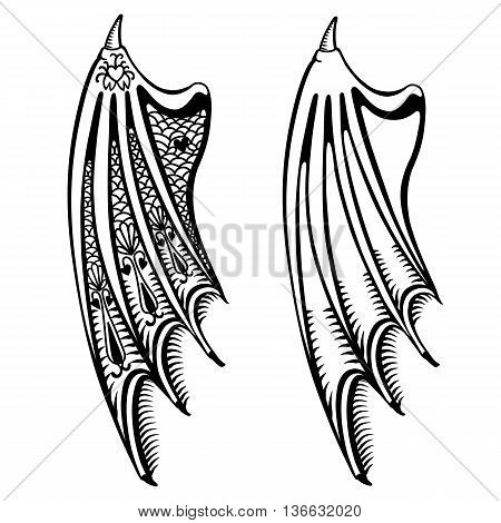 Devil's wings set isolated on white background vector illustration