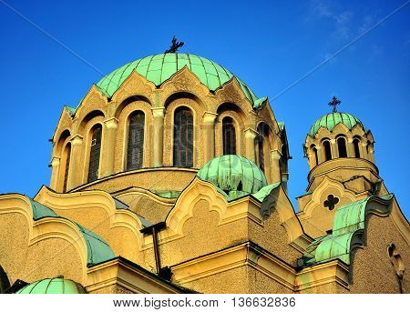 Domes of Patriarchal orthodox of Holy Ascension of God Veliko Tarnovo Bulgaria