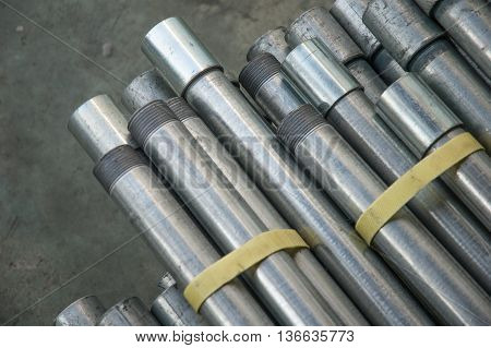 The Silver Stainless steel pipe in factory