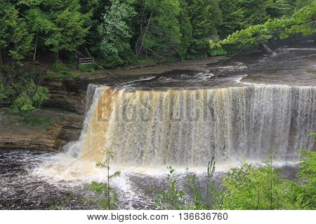 The Upper Falls on the Tahquamenon River. In Michigan's Upper Peninsula.