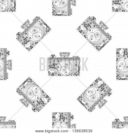 Seamless pattern with cameras in quilling style. Black-and-white vintage background for photography. Vector art design in line-art style.
