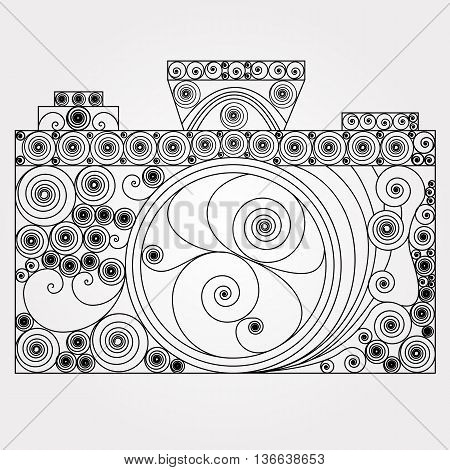 The photo camera in quilling style. Black-and-white design retro and vintage type. Line-art object of old school photography.