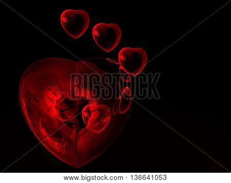 premade abstract red heart shapes for valentine background