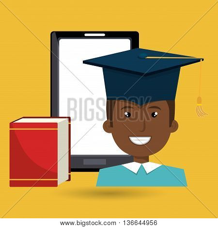 graduate online education isolated icon design, vector illustration  graphic