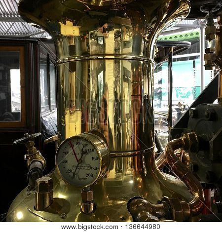 Fire engine pumping equipment in polished brass