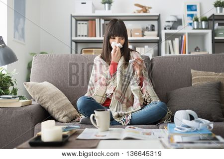 Sick Woman With Cold And Flu