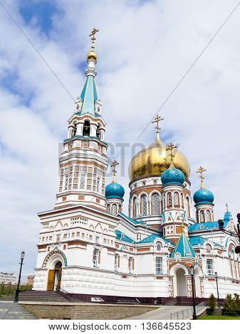 Church with the Golden domes against the sky