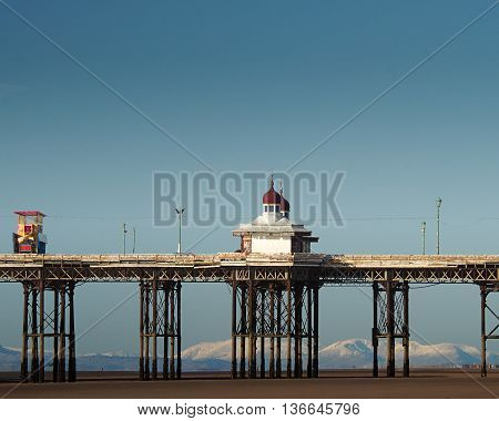 North pier  with cabins in Blackpool ,UK.