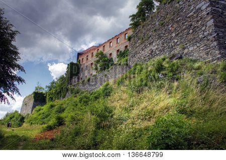 Medival castle Sovinec. Architecture of Czech Republic.